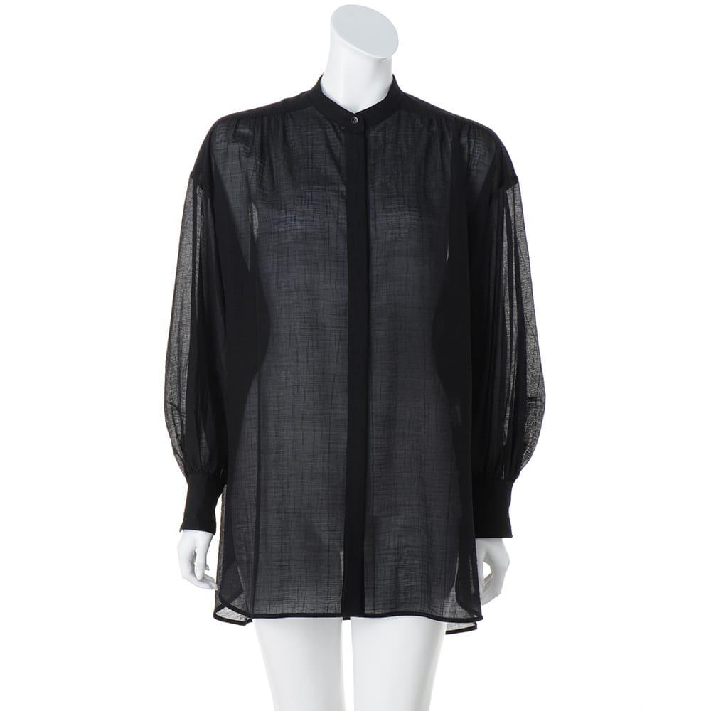 フランス素材 シアー楊柳 ボリュームシャツ (イ)ブラック