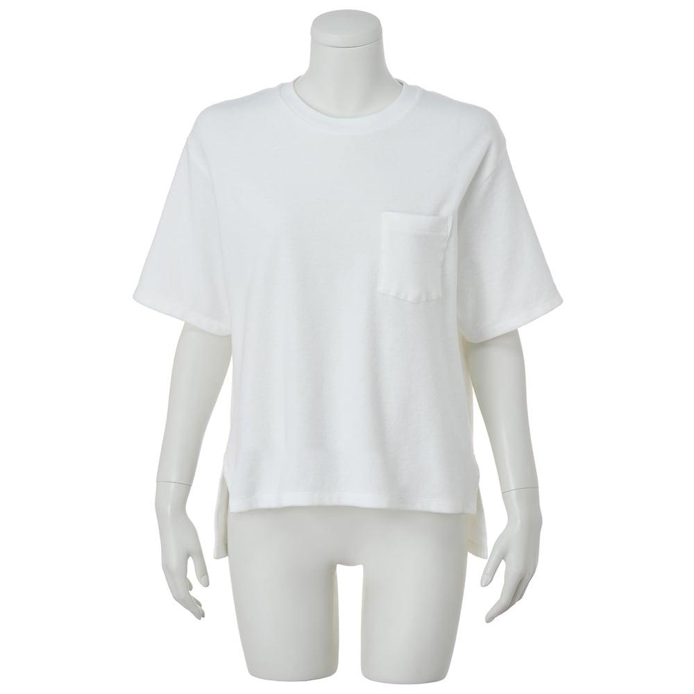 HAAG(R)/ハーグ スマイルコットン パイルTシャツ (ウ)ホワイト
