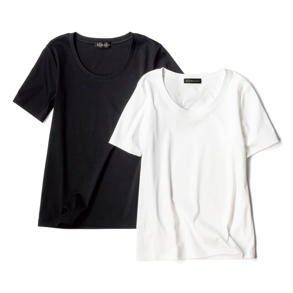 コットンスムース クルーネックTシャツ 左から (イ)ブラック (ア)オフホワイト