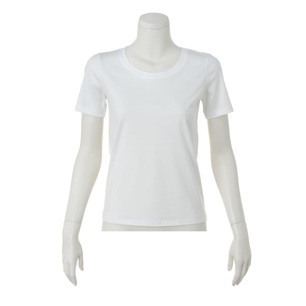コットンスムース クルーネックTシャツ (ア)オフホワイト