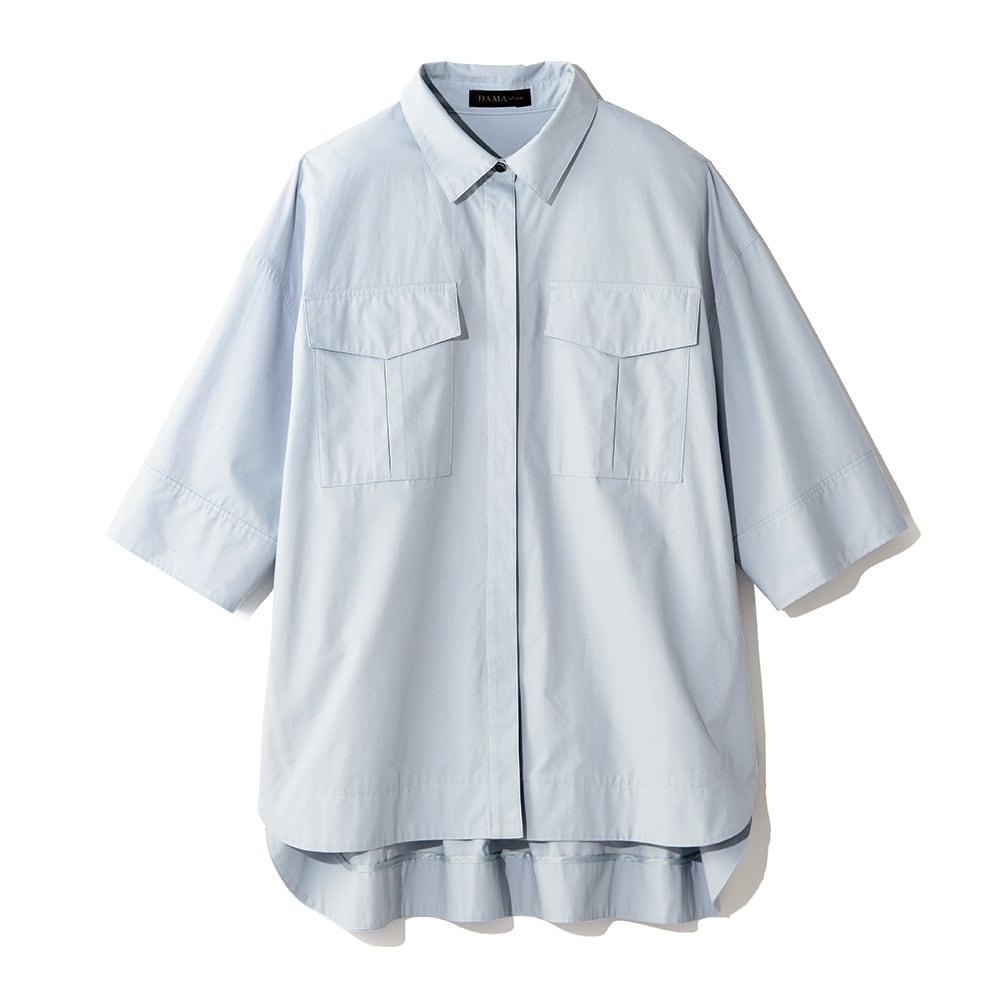 ポケットデザイン ワークシャツ (ア)サックスブルー