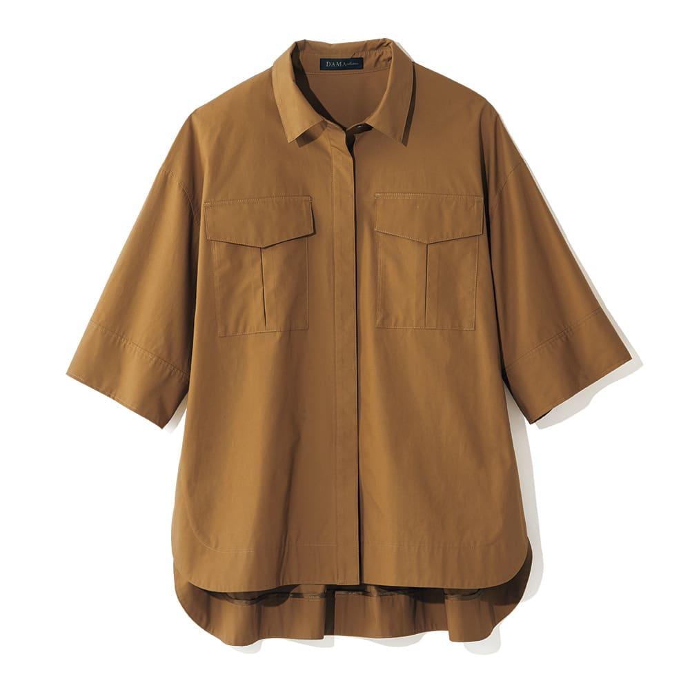 ポケットデザイン ワークシャツ (イ)キャメル