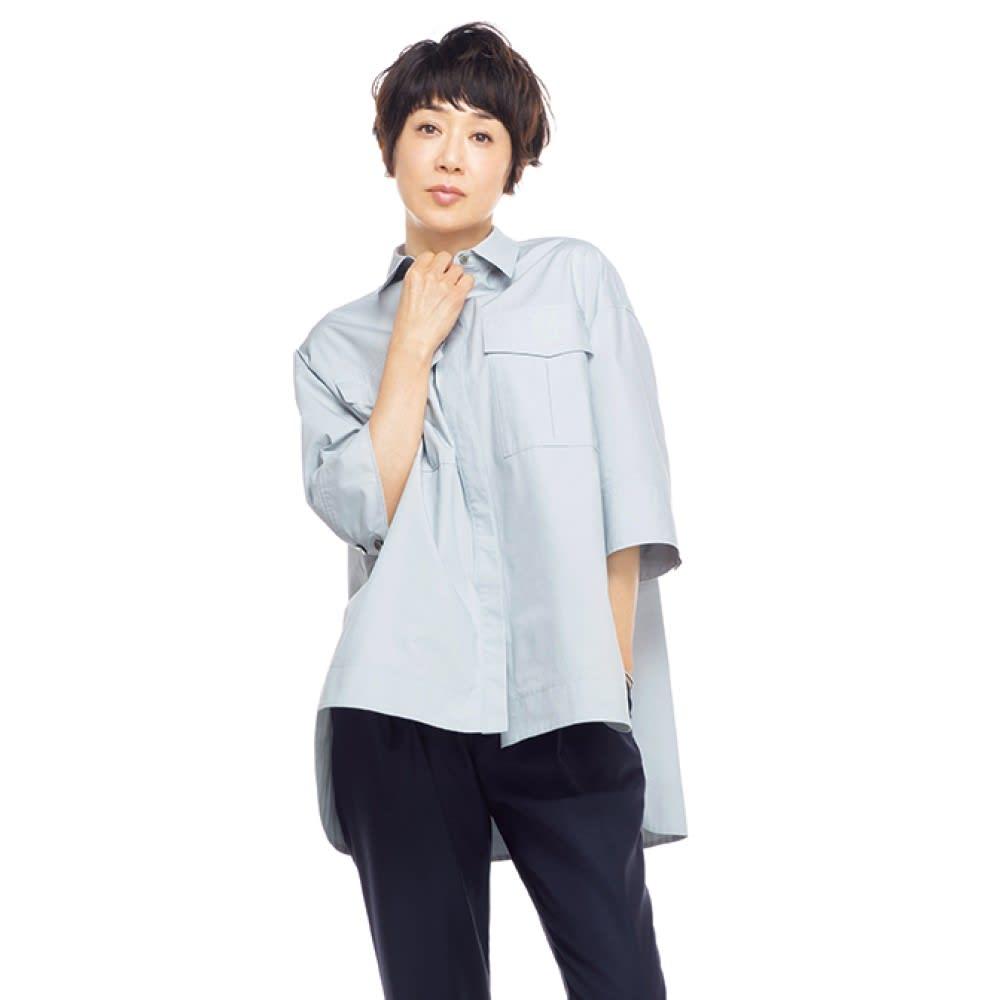 ポケットデザイン ワークシャツ (ア)サックスブルー 着用例