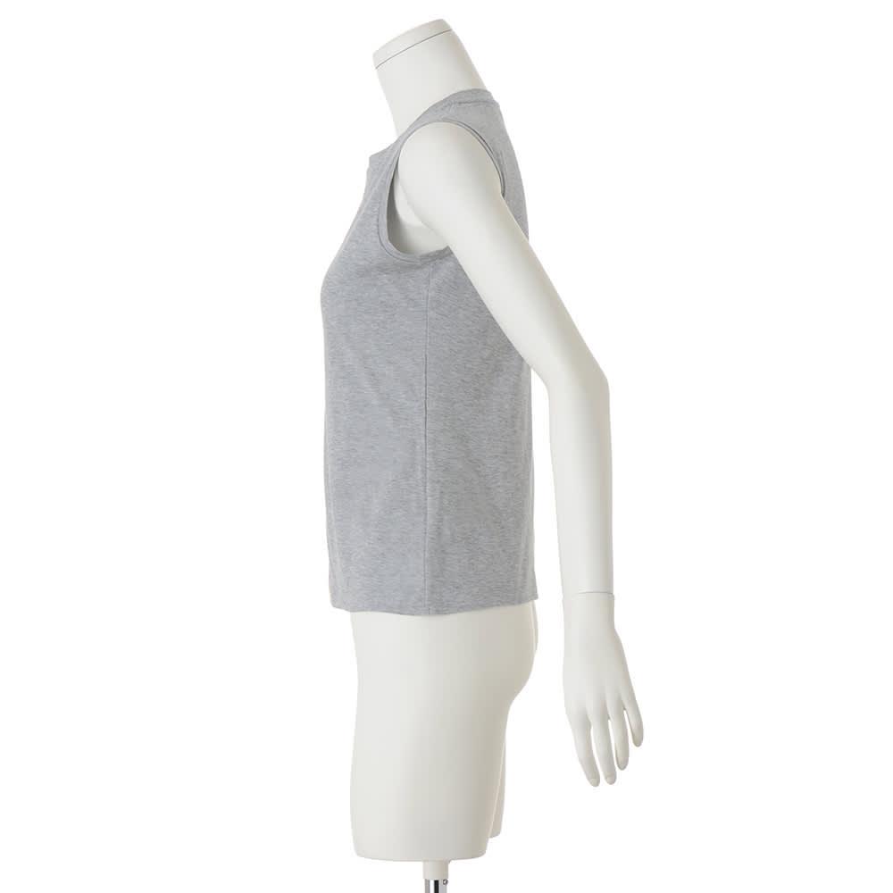 スマイルコットン 身頃二重仕立て スリーブレス Tシャツ
