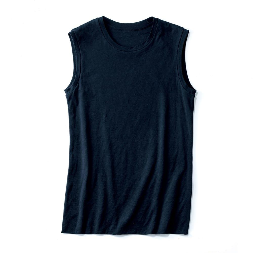 スマイルコットン 身頃二重仕立て スリーブレス Tシャツ (イ)ダークネイビー