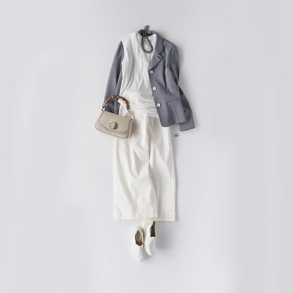 スマイルコットン 身頃二重仕立て スリーブレス Tシャツ コーディネート例