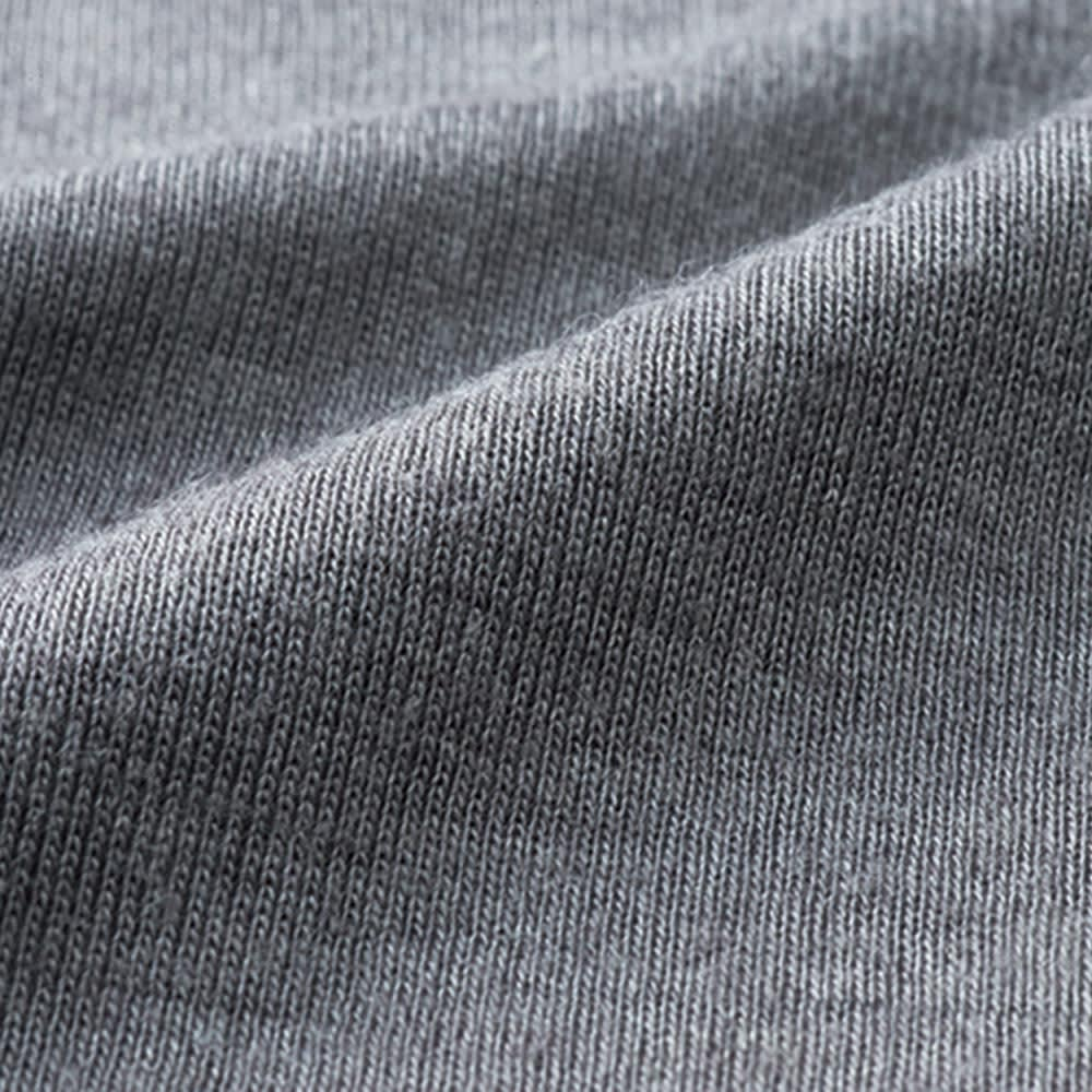 【S・M・L】 ウールシルク 暖かインナー ラウンドネック 九分袖 (イ)チャコールグレー 生地アップ