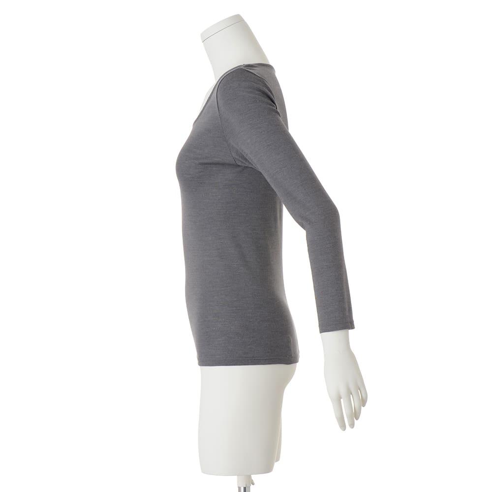 【S・M・L】 ウールシルク 暖かインナー ラウンドネック 九分袖