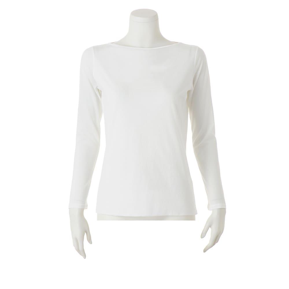 スマイルコットン 身頃二重仕立てシリーズ ボートネック 長袖 Tシャツ (ア)オフホワイト