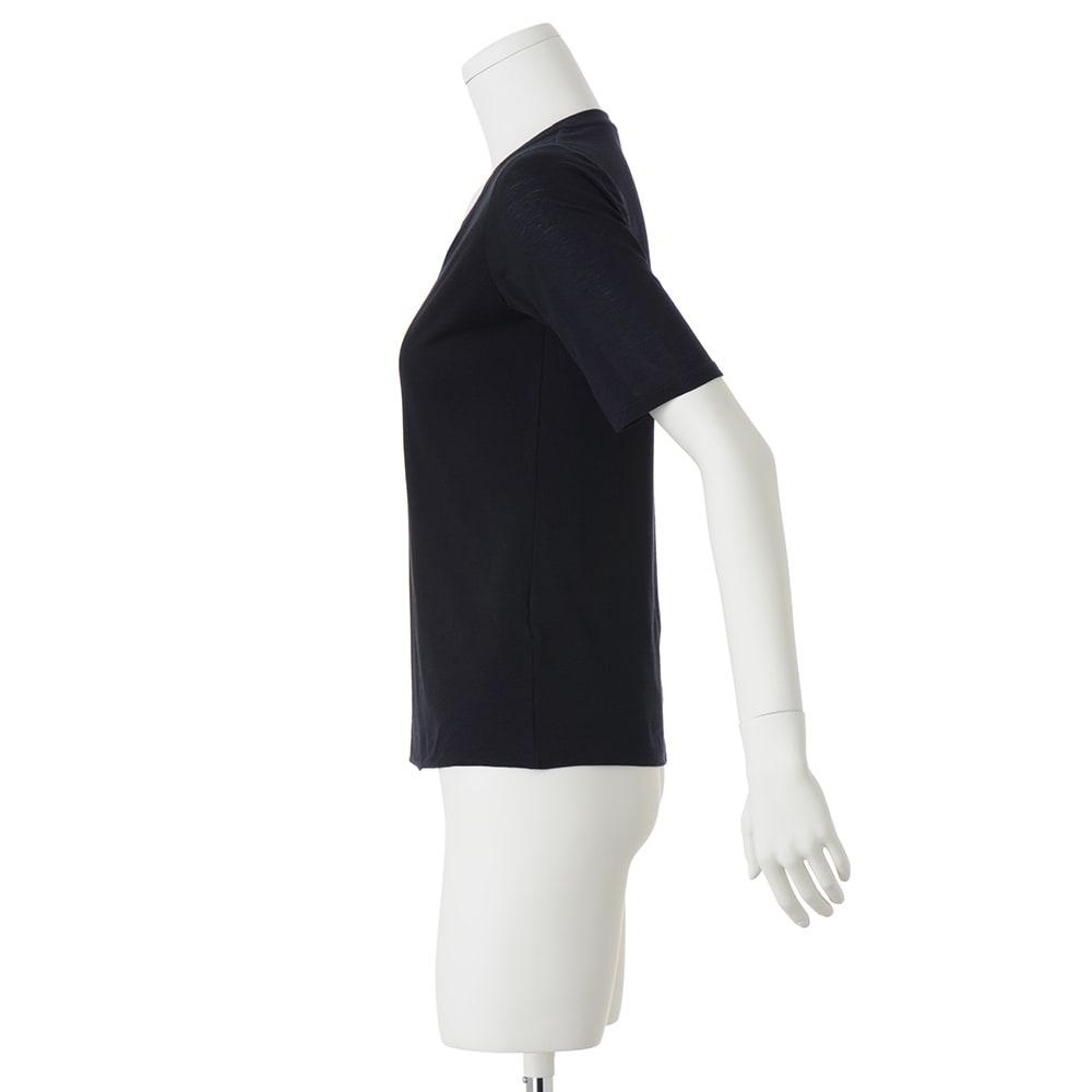 スマイルコットン 身頃二重仕立てシリーズ ラウンドネック 五分袖 Tシャツ (イ)ダークネイビー