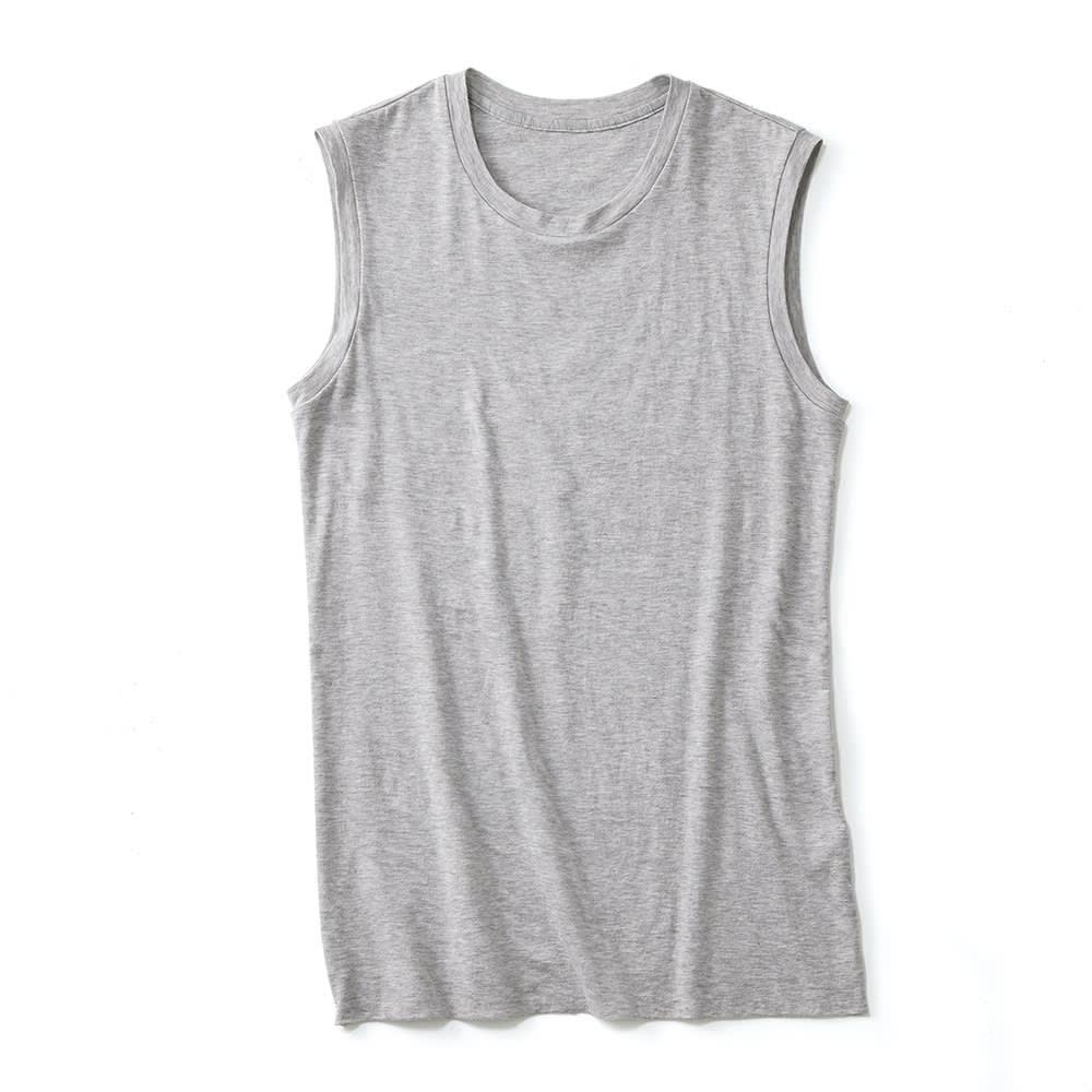 スマイルコットン 身頃二重仕立て スリーブレス Tシャツ (ウ)杢グレー