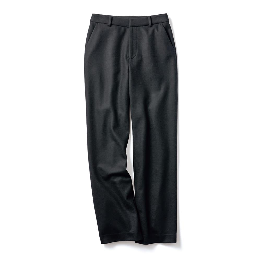 強圧縮ウール素材 セミワイドパンツ (エ)ブラック