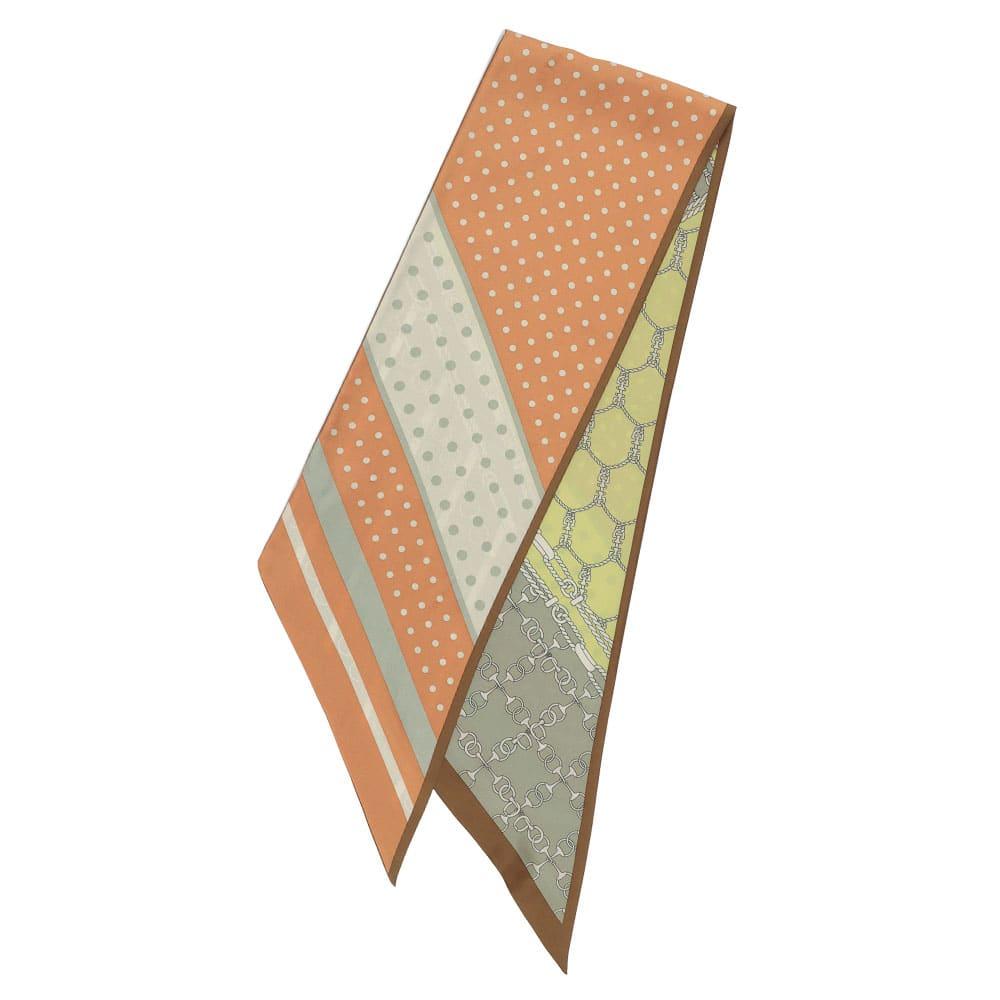 ドット×ビット柄 ナローシルクスカーフ ※こちらのお色の販売はございません。形、サイズ感をご参考ください。