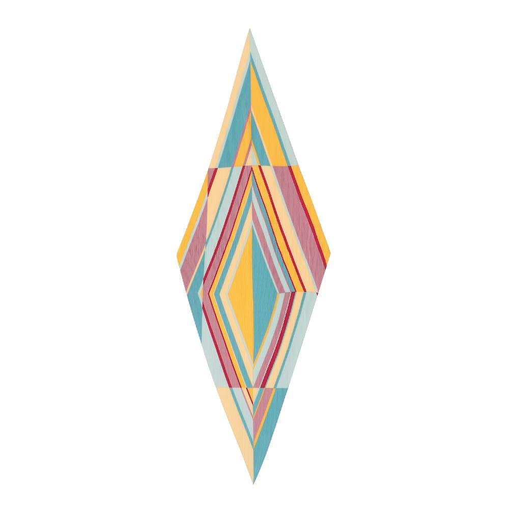 幾何学柄 プリーツスカーフ (イ)イエロー系