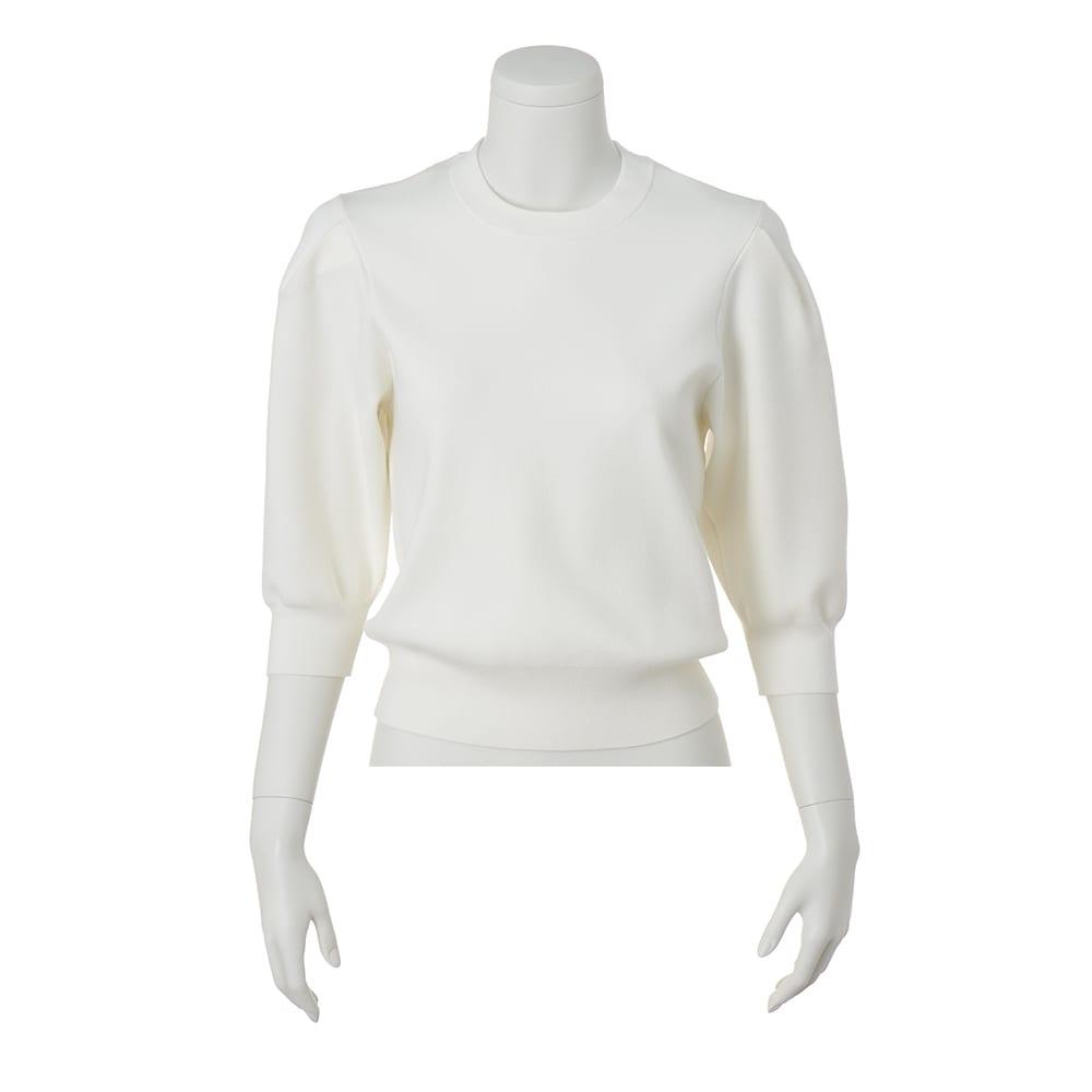 スムース編みパフスリーブプルオーバー (ア)オフホワイト
