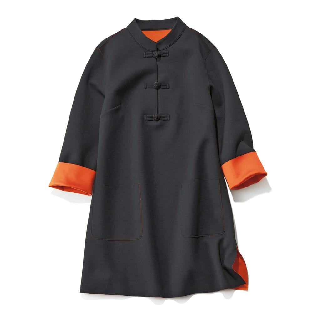 チャイナカラーダブルフェイスチュニック (ア)ブラック×オレンジ