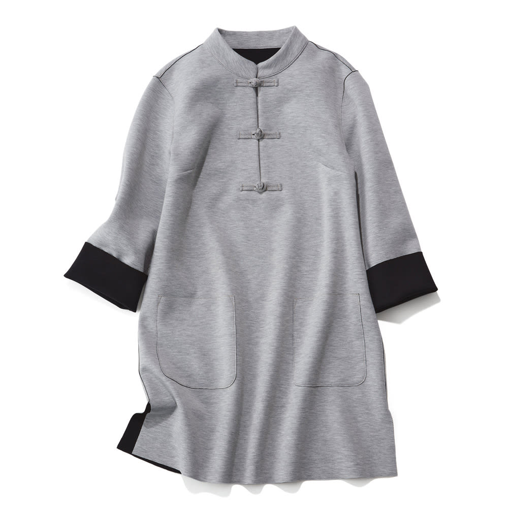 チャイナカラーダブルフェイスチュニック (イ)ライトグレー×ブラック