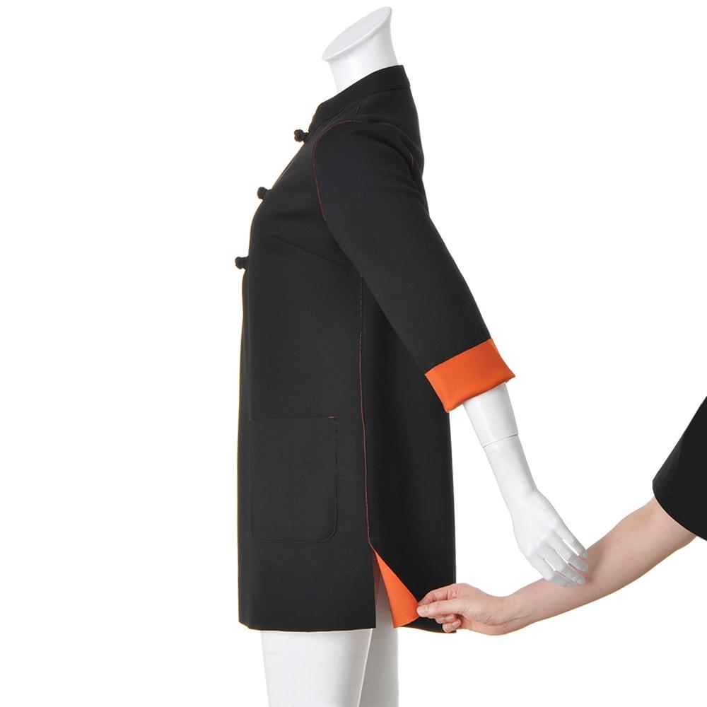 チャイナカラーダブルフェイスチュニック 両脇裾スリット仕様