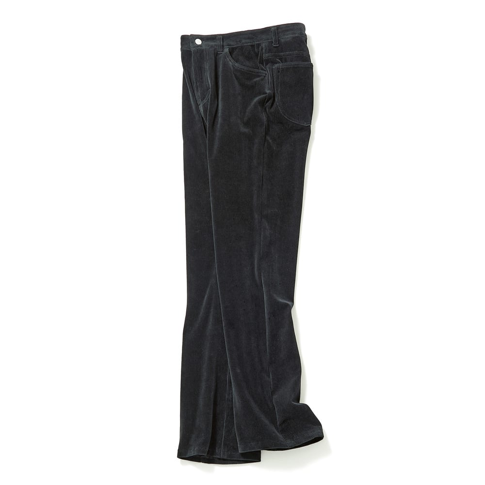 コーデュロイ風ストレートジャージーパンツ (ア)ブラック