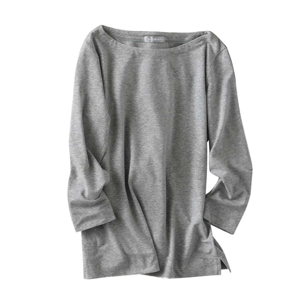 洗えるハイゲージコットンベア天竺シリーズ ボートネック Tシャツ (オ)グレー【web限定色】