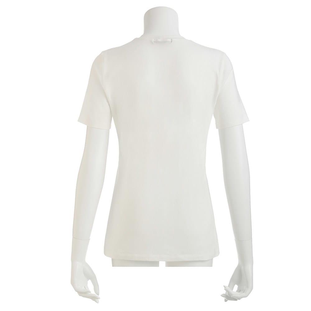 洗えるハイゲージコットンベア天竺シリーズ クルーネック 半袖 Tシャツ (ア)ホワイト