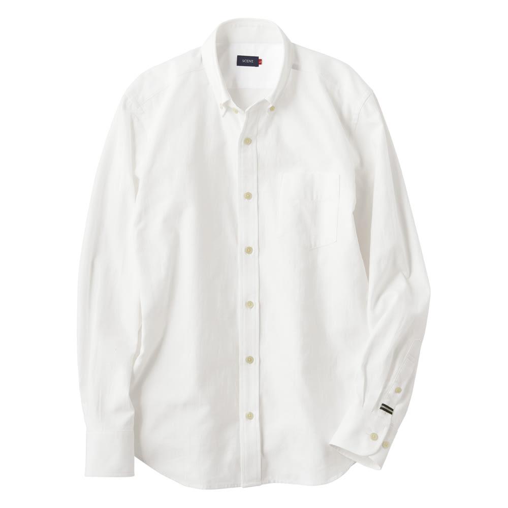 SCENE(R)/シーン ムラ糸シャンブレー シャツ(日本製) スリム (イ)ホワイト
