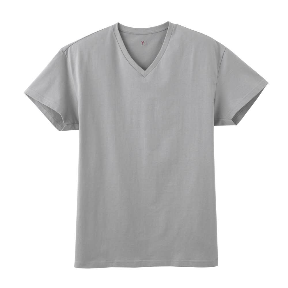 GUNZE/グンゼ YG(ワイジー)超速吸水Tシャツ 同色3枚組シリーズ Vネック (ア)グレー
