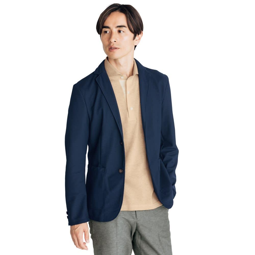 「FIELDSENSOR(R)」 鹿の子編みニットジャケット ポロシャツの上から羽織るだけでビジネススタイルが完成します