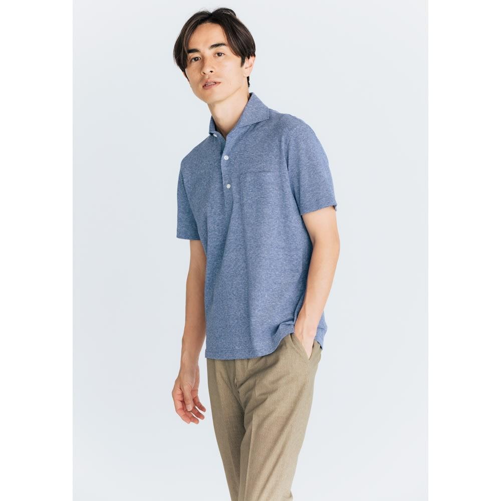 「GIM」 綿麻デザインポロシャツ (オ)ブルー コーディネート例