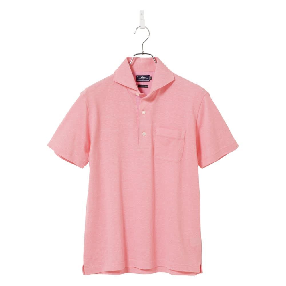 「GIM」 綿麻デザインポロシャツ (ア)ピンク
