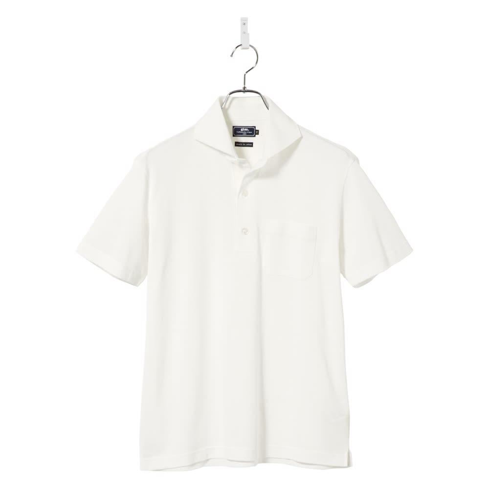 「GIM」 綿麻デザインポロシャツ (ウ)ホワイト