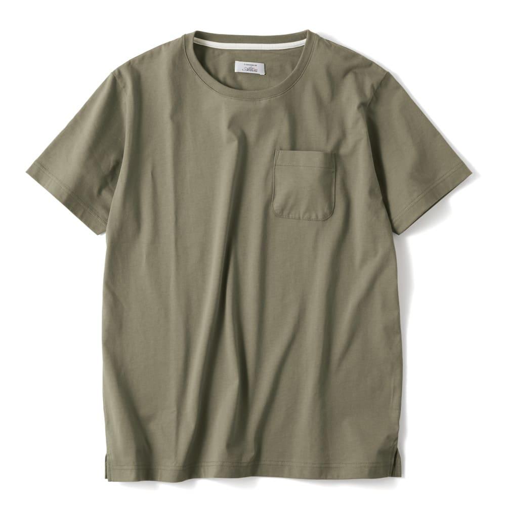 「i cotoni di ALBINI」 超長綿ドレスTシャツシリーズ クルーネック (ア)カーキ
