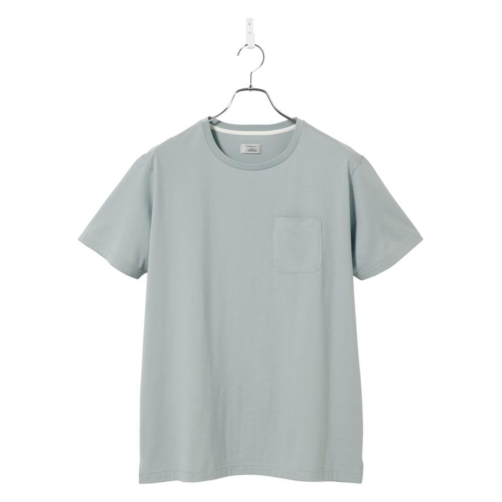 「i cotoni di ALBINI」 超長綿ドレスTシャツシリーズ クルーネック (ウ)ブルーグレー