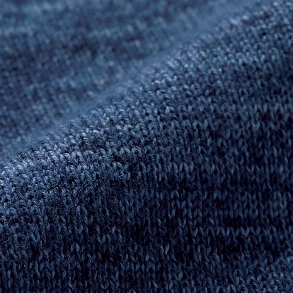 「GIM」 スペック染めニットジャケット スペック染めならではのインディゴ風のかすれやムラで、味わい深い1枚に仕上げました。