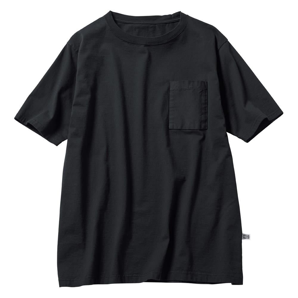 布帛切替オーガニック Tシャツ (ア)ブラック