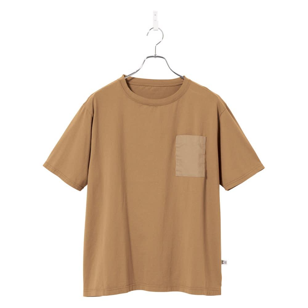 布帛切替オーガニック Tシャツ (イ)キャメル