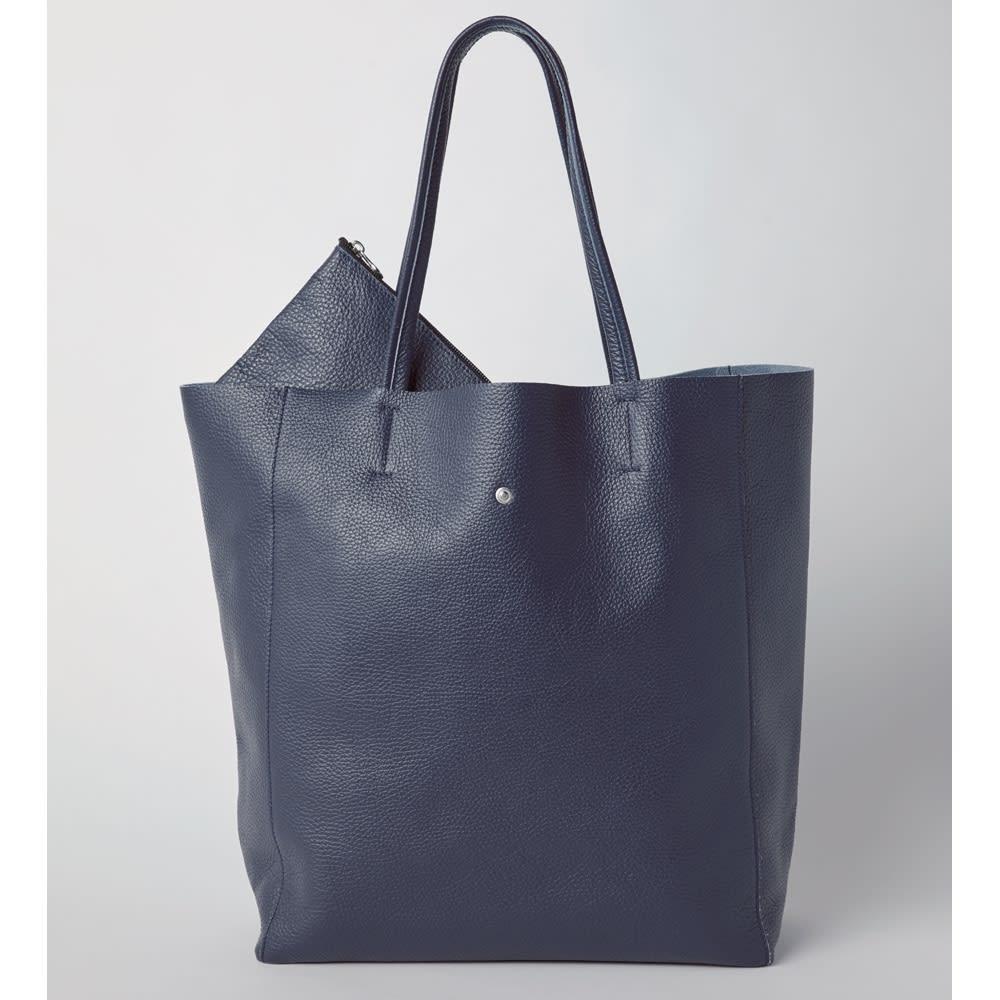 GIUDI/ジウディ イタリアンレザー トートバッグ ポーチ付き (ウ)ネイビー(web限定色)