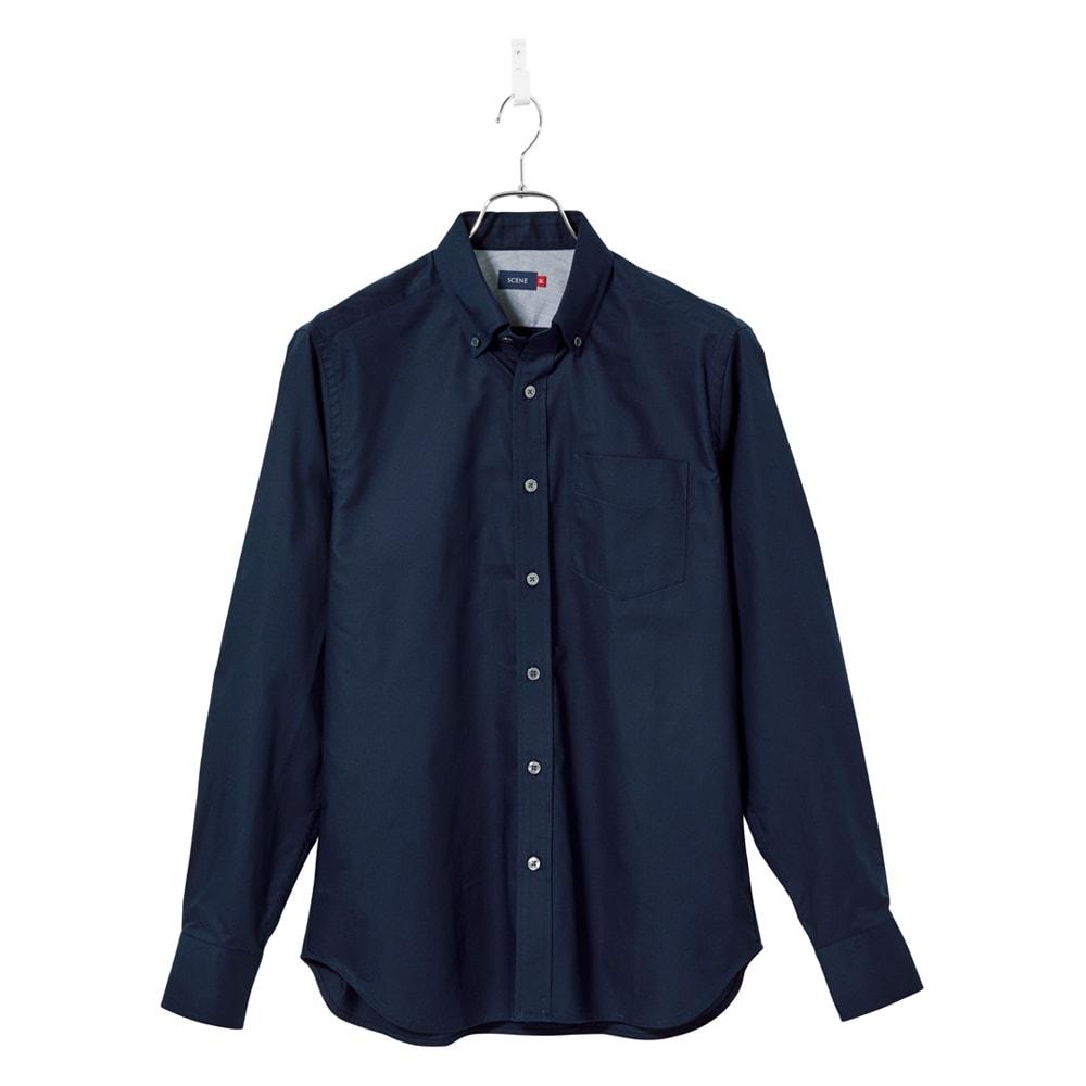 SCENE(R) 7DAYS ジャパンメイドシャツシリーズ ネイビーオックス 心地いいオーガニックコットンで、上品な印象。