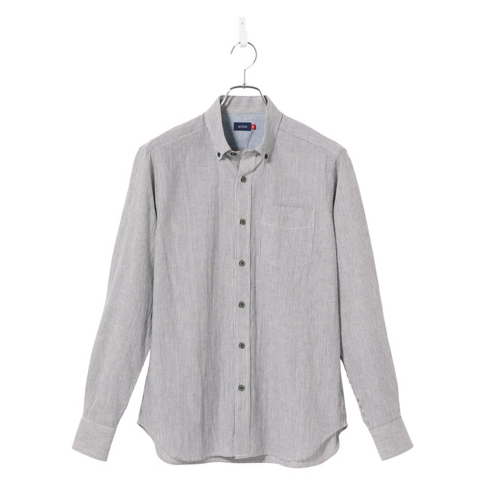 SCENE(R) 7DAYS ジャパンメイドシャツシリーズ 綿麻ストライプ ナチュラルな風合いが楽しめるストライプ柄。