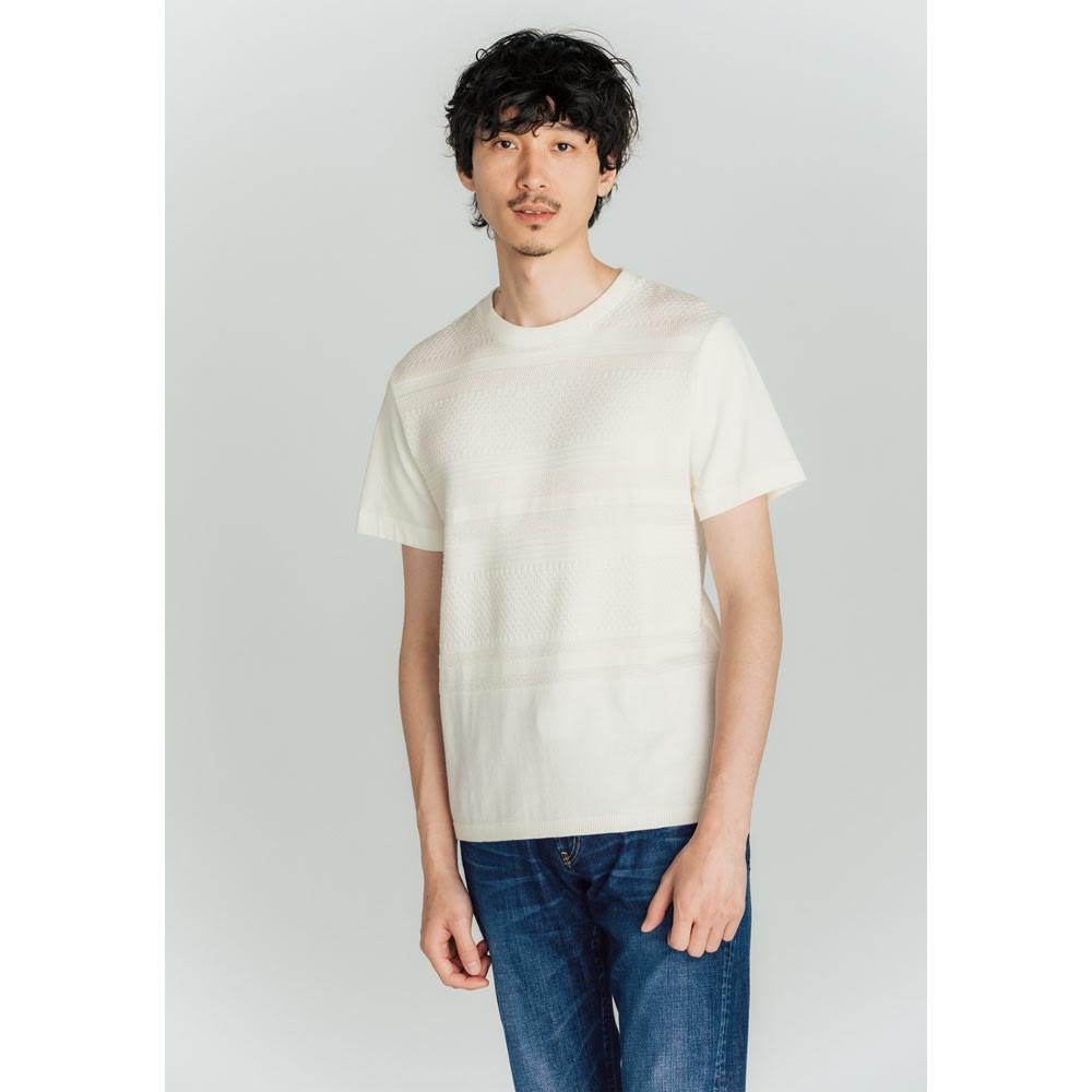 前身地柄ニット切替Tシャツ (ア)ホワイト コーディネート例