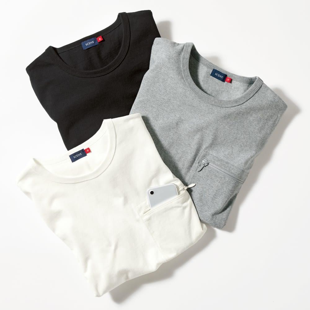 SCENE(R) スマホポケットTシャツ 上から(イ)ブラック (ウ)グレー (ア)ホワイト