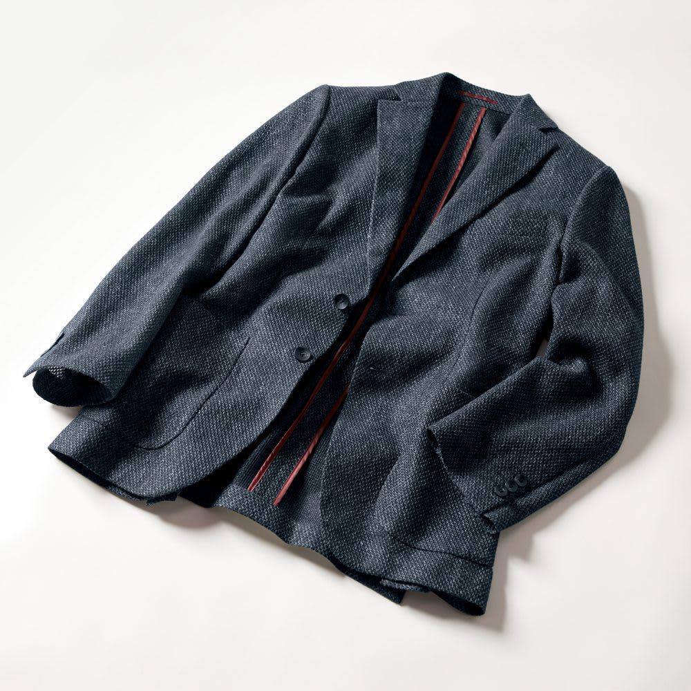 からみ織サマージャケット (ア)ネイビー
