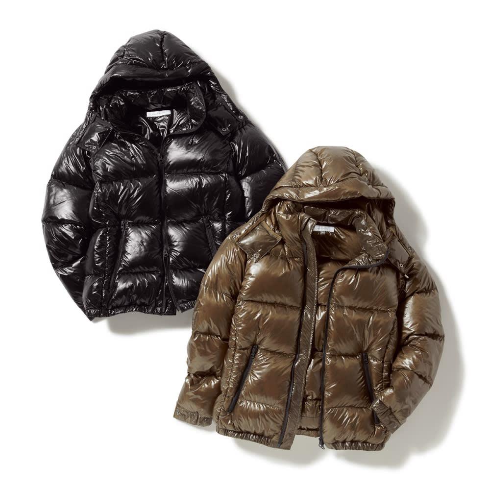 「DICROS」×「ALLIED」 軽量ダウンジャケット 左から(イ)ブラック (ア)カーキ