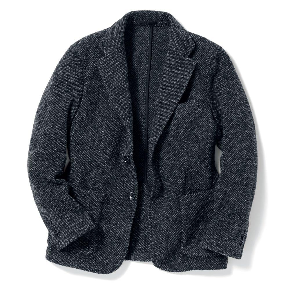 「MAPEL」 スライバーニットジャケット (ア)チャコールグレー