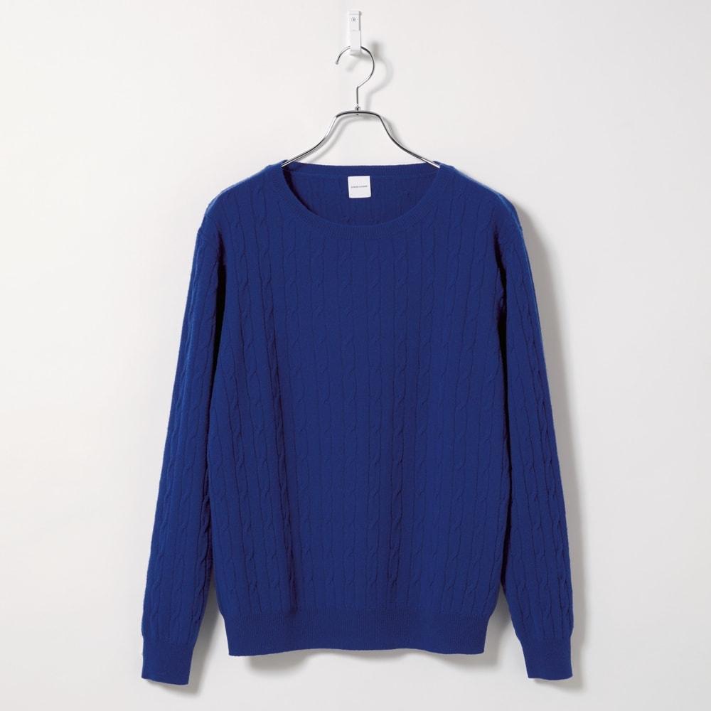 カシミヤ混ケーブル編み ニットプルオーバー (エ)ブルー