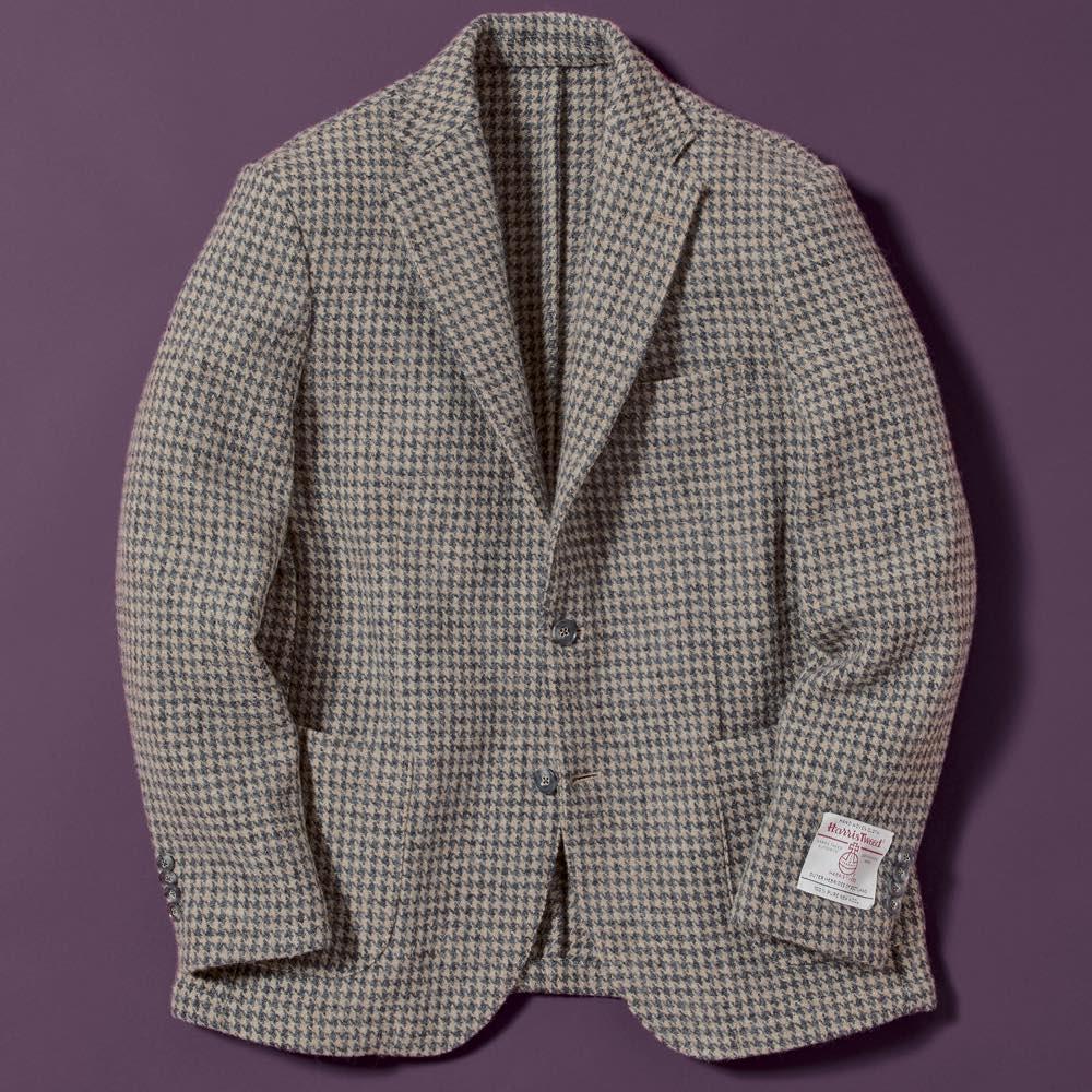 「Harris Tweed」 ウールジャケット (ア)グレー千鳥