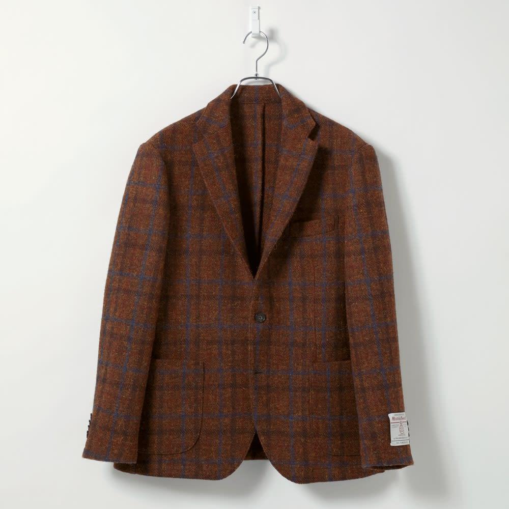 「Harris Tweed」 ウールジャケット (イ)ブラウンチェック