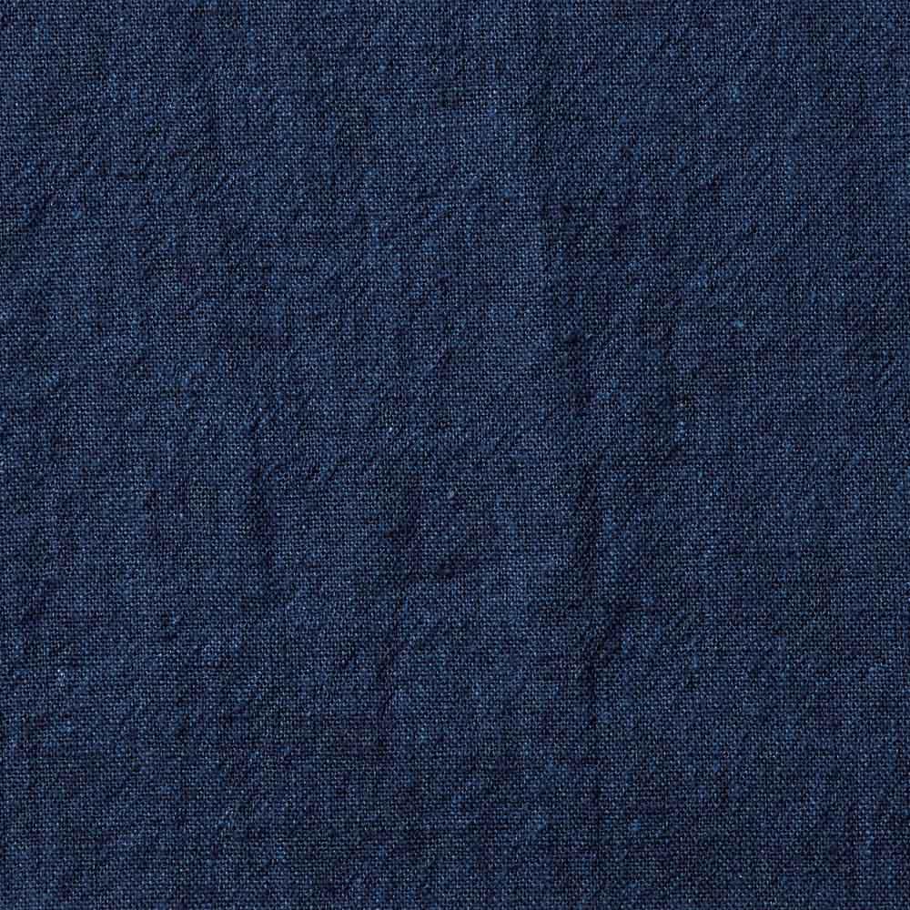 ジャパンファブリック リネンブレンド7分袖シャツシリーズ ネイビーダンガリー しっかりとしたベルギーリネン 色合いも風合いもデニムライク。洗うたびに柔らかく、自分色に。