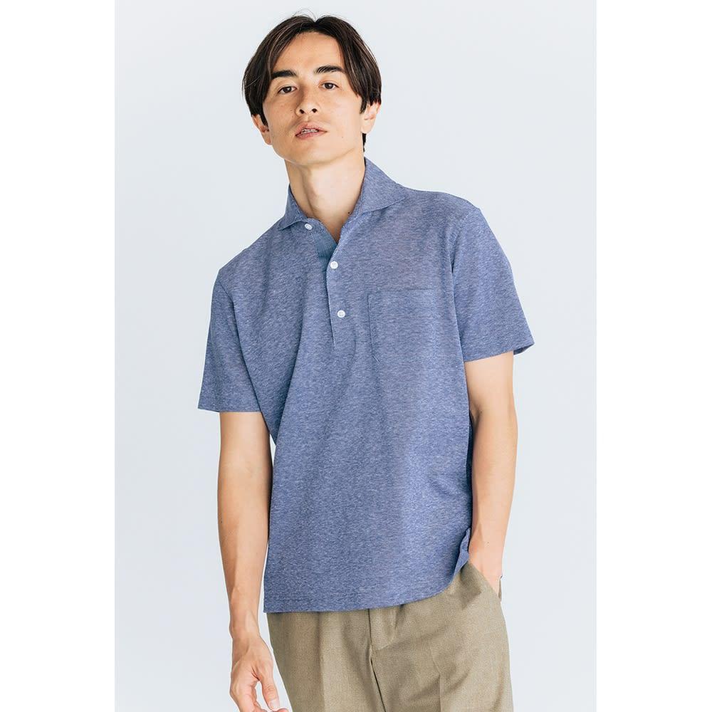 「GIM」 綿麻デザインポロシャツ ボタンを開けてサマになる「綿麻デザインポロシャツ」 (オ)ブルー