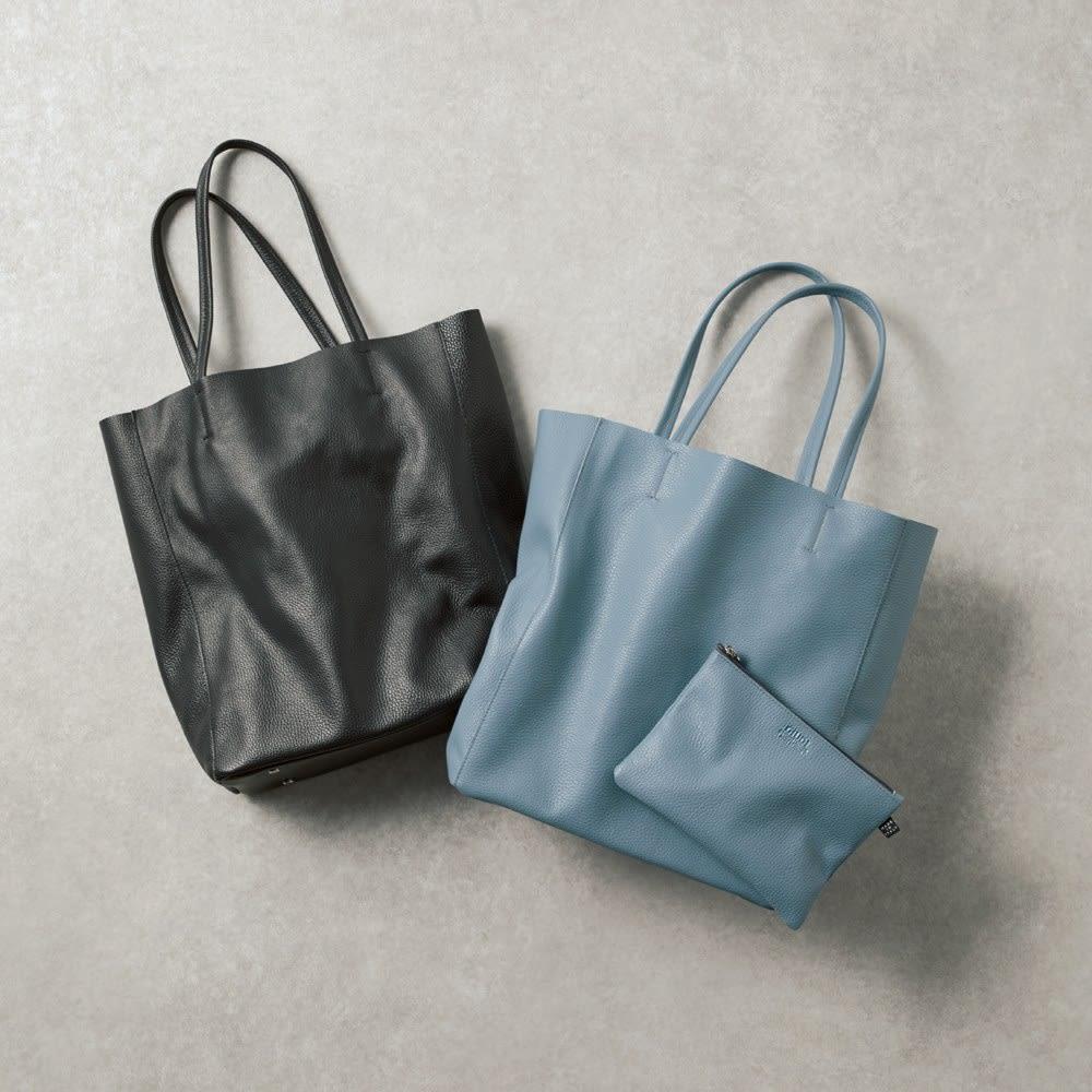 GIUDI/ジウディ イタリアンレザー トートバッグ ポーチ付き 左から(ア)ブラック (イ)ブルーグレー